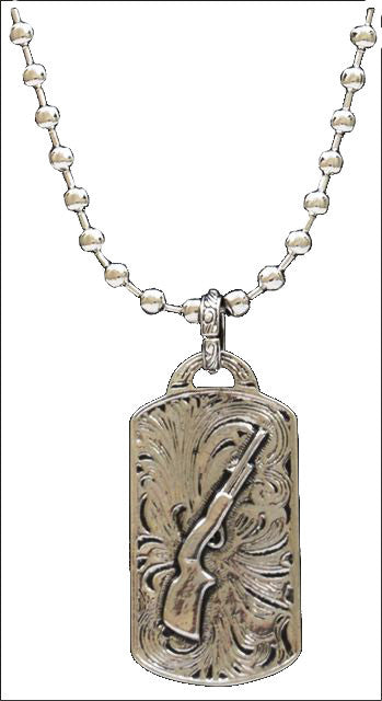(3DB-N0022) Western Silver Dogtag with Rifle