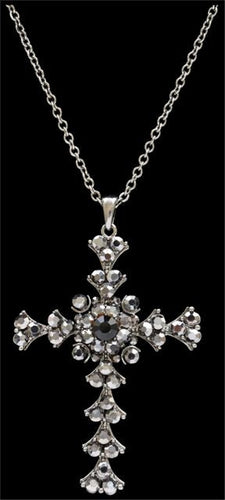 (3DB-N11839) Western Antique Silver Cross Necklace