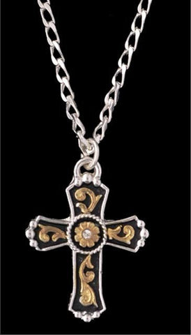 (3DB-N120)  Western Tri-Color Cross Necklace