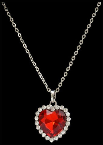 (3DB-N13334R) Western Red Crystal Heart Necklace