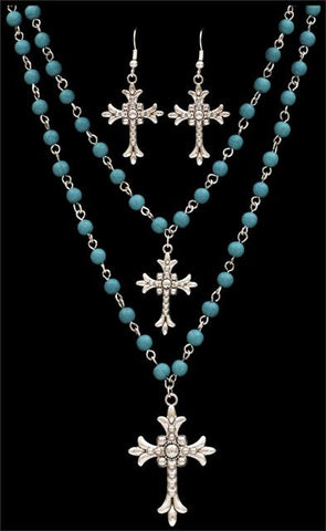 (3DB-NE016) Western Turquoise Beaded Cross Necklace and Earrings