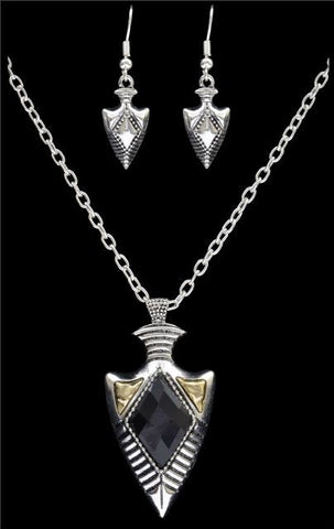 (3DB-NE0217ASAGBK) Silver Strike Black/Gold/Silver Arrowhead Jewelry Set