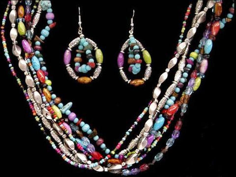 (3DB-NE12435M) Western Multi-Row Beaded Necklace & Earring Set