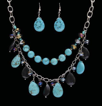 (3DB-NE1400BLK) Western Turquoise & Black Beaded Necklace with Matching Earrings