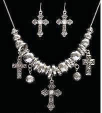 (3DB-NE1594AS) Western Antique Silver Cross Necklace with Matching Earrings