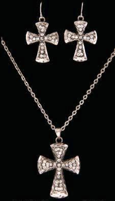 (3DB-NE2105C) Western Antique Silver Cross Necklace with Matching Earrings