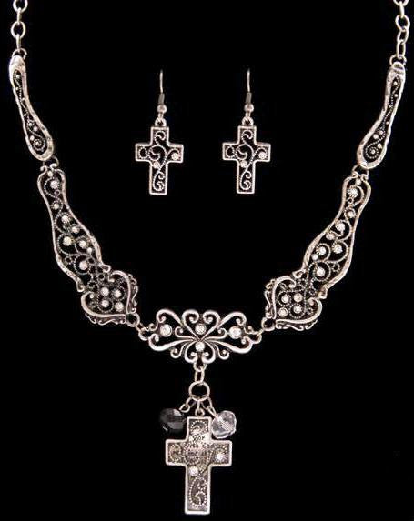 (3DB-NE30231BS) Western Silver & Black Cross Necklace with Matching Cross Earrings