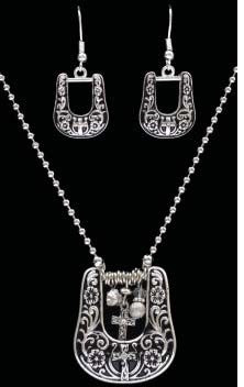 (3DB-NE40066AS) Western Antique Silver Cross Buckle Necklace & Earrings