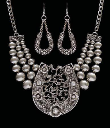 (3DB-NE5095C) Western Silver Horseshoe Necklace with Matching Earrings