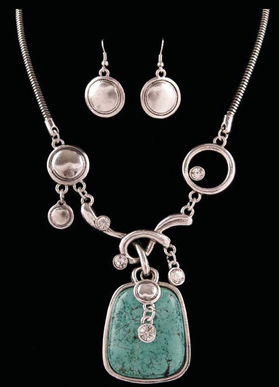 (3DB-NE6350AST) Western Silver & Turquoise Necklace and Earrings
