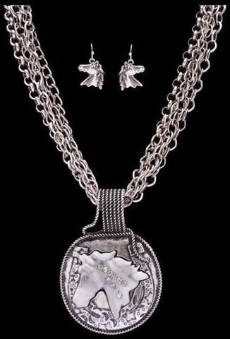 (3DB-NE7059WT) Western Horse Necklace and Matching Earrings