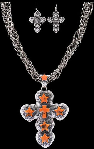(3DB-NE7061OR) Western Orange Star & Cross Necklace with Matching Earrings