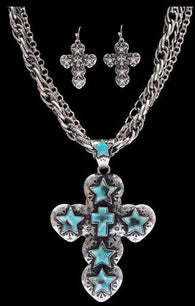 (3DB-NE7061TQ) Western Turquoise Star & Cross Necklace with Matching Earrings