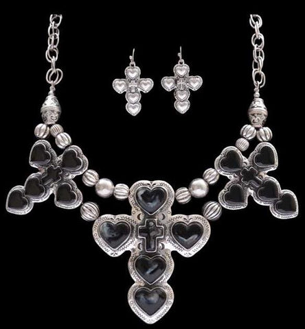 (3DB-NE7079SBBK) Western Triple Heart & Cross Silver/Black Necklace with Matching Earrings