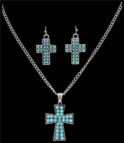 (3DB-NE7113SBTQ) Western Turquoise Cross Necklace and Earrings