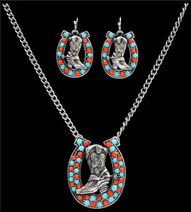 (3DB-NE7118TQRD) Silver Strike Turquoise & Cobalt Boot and Horseshoe Jewelry Set