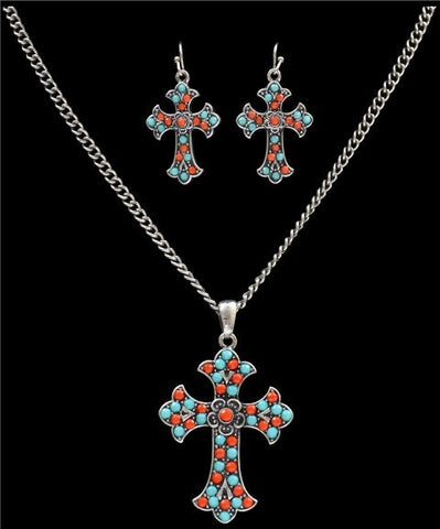 (3DB-NE7120TQRD) Silver Strike Turquoise & Cobalt Cross Jewelry Set