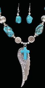 (3DB-NE735) Western Turquoise & Silver Wing and Cross Necklace & Earrings