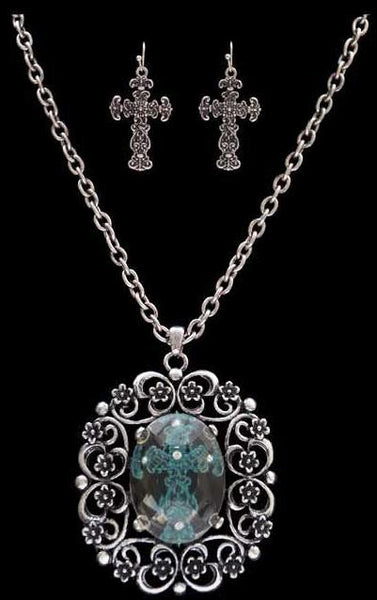 (3DB-NE8327SBPT) Western Blue Cross Necklace with Matching Cross Earrings