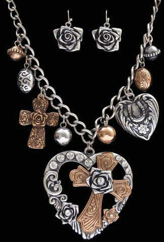 (3DB-NE8823SBGB) Western Silver & Gold Heart & Cross Necklace with Charms and Matching Floral Earrings