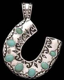 (3DB-PD1107ASTL) Western Silver & Teal Horseshoe Navajo Pendant