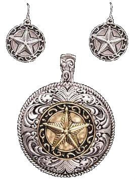 (3DB-PE1026AG) Western Antique Silver & Gold Star Pendant and Matching Earrings