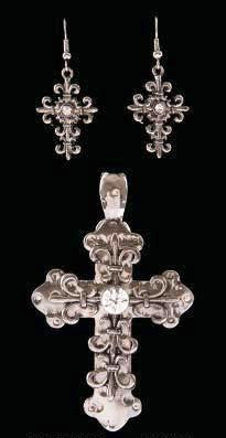 (3DB-PE7013R) Western Antique Silver Cross Pendant with Clear Center Stone and Matching Earrings