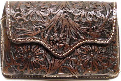 (3DB-PH584) Western Chocolate Floral Tooled Leather Cell Phone Holder for iPhone 4 and Blackberry
