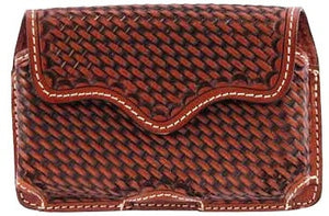 (3DB-PH591) Western Tan Basketweave Cell Phone Holder for iPhone 4 and Blackberry with Swivel Belt Clip
