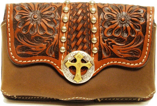 (3DB-PH621) Western Tan Tooled Cell Phone Holde with Cross Concho for iPhone 4 and Blackberry