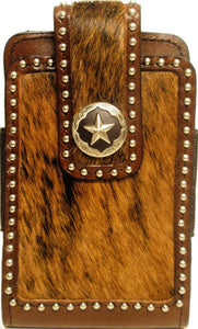 (3DB-PH644) Western Hair-On Cell Phone Holder with Star Concho for Samsung Notebooks