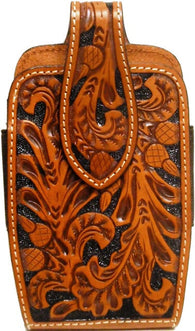 (3DB-PH653) Western Tan Tooled Leather Cell Phone Holder for Samsung Galaxy Notebook