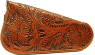 (3DB-PI111) Western Tan Tooled Pistol Case - Medium