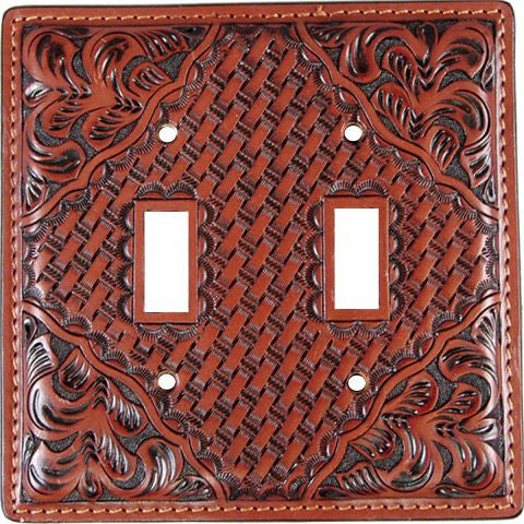 (3DB-SP121) Western Tan Leather Double Switch Plate