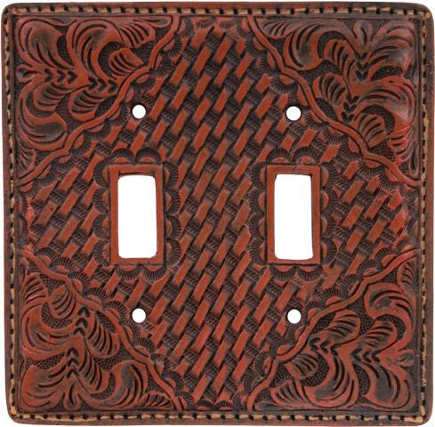 (3DB-SP521) Western Tan Resin Double Switch Plate