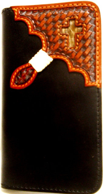 (3DB-TLPH013) Western Black/Tan Cell Phone Case/Wallet for iPhone 4/4s by Tony Lama