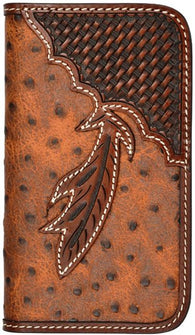 (3DB-TLPH027) Western Ostrich/Feather Cell Phone Case/Wallet for Galaxy Samsung S4 by Tony Lama