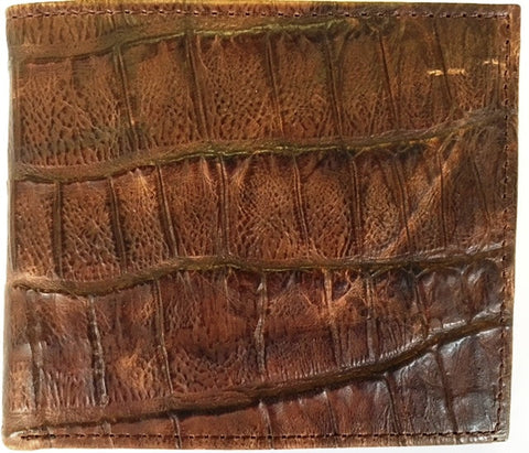 (3DB-W232) Western Brown Croc Leather Bi-Fold Wallet