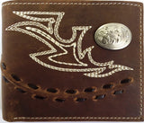 (3DB-W264) Western Distressed Brown Leather Bi-Fold Wallet with Fancy Stitch