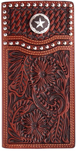 (3DB-W281) Tan Western Rodeo Wallet with Star Concho