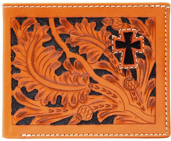 (3DB-W447) Western Natural Tooled Bi-Fold Wallet with Hair-On Cross Inlay