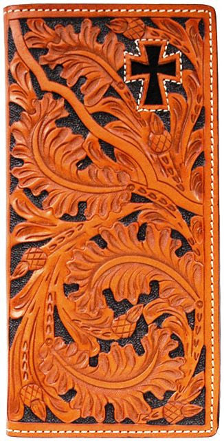 (3DB-W443) Western Natural Tooled Leather Rodeo Wallet with Hair-On Inlay Cross