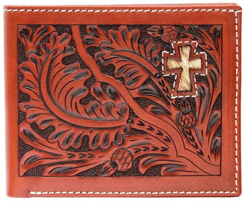 (3DB-W445) Western Tan Tooled Bi-Fold Wallet with Hair-On Cross Inlay