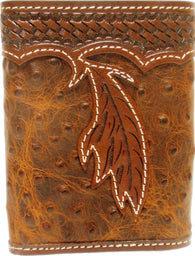 (3DB-W684) Western Brown Leather Ostrich Print Tri-Fold Wallet with Feather