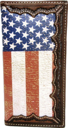 (3DB-W841) Western Distressed USA Flag Rodeo Wallet