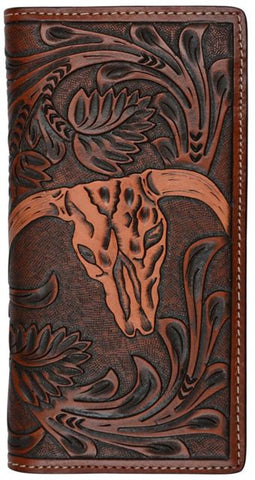 (3DB-W905) Western Tooled Rodeo Wallet with Skull