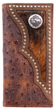 Load image into Gallery viewer, (3DB-W914) Western Brown Rodeo Wallet with Ostrich Print and Praying Cowboy Concho