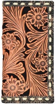 (3DB-W927) Western Natural & Black Tooled Rodeo Wallet
