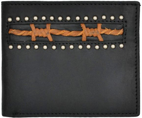 (3DB-W952) Black Western B-Fold Wallet with Brown Barbwire Inlay