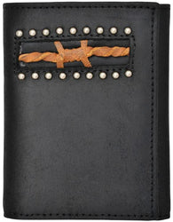 (3DB-W956) Western Black Tri-Fold Wallet with Brown Barbwire Inlay